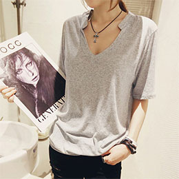 V領設計素色百搭短袖T恤(3色)