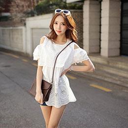 韓版 挖肩摟空蕾絲洋裝