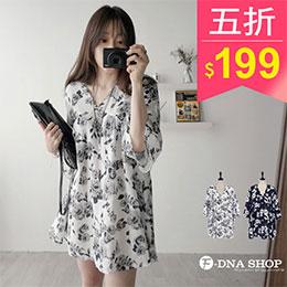 韓版復古玫瑰V領雪紡洋裝(2色)