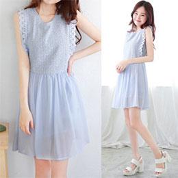 氣質花蕾絲雪紡背心裙(4色)