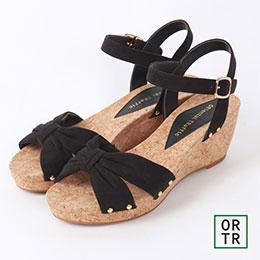 俏麗蝴蝶結繫帶楔型涼鞋(3色)