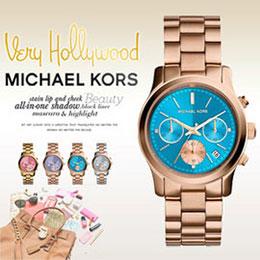 MK藍面玫瑰金三環計時日曆手錶
