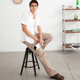 型男→造型多口休閒側貼袋長褲