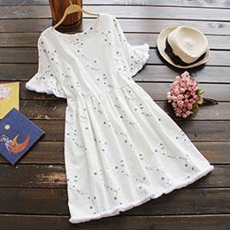 日系短袖花朵刺繡棉麻連身裙