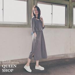 素色縮腰側開衩長洋裝 兩色售