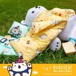 精梳棉鋪棉兩用睡袋-歡樂派對時光藍/黃