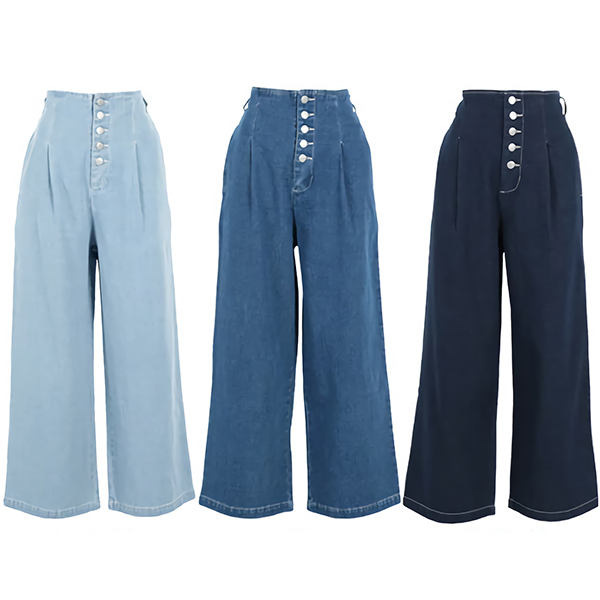日本高腰寬版牛仔褲