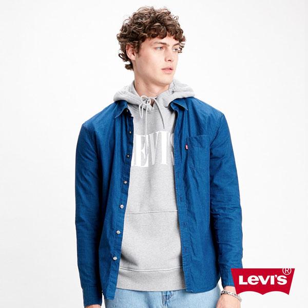 男款藍染長袖襯衫