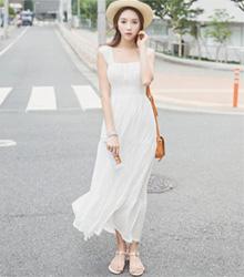 韓版無袖露背連身長洋裝