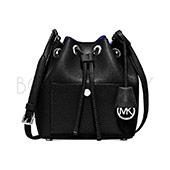 MK 黑色皮革抽繩束口水桶包