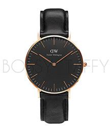 DW 黑色皮革金框腕錶