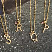 金褸線手寫體字母華麗項鍊
