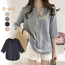 韓式V領半袖小心機襯衫