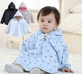 眾媽咪推薦!雙面可穿 寶寶鋪棉外套斗篷