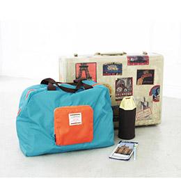 韓系撞色折疊旅行購物袋