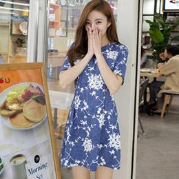 CHERRYKOKO修身花朵輕單寧洋裝