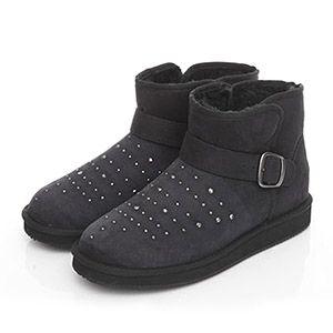 鑽面扣飾短筒雪靴