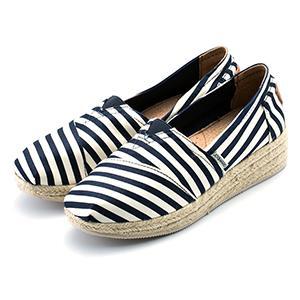 厚底條紋草編鞋