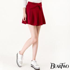 純色系蝴蝶結造型褲裙
