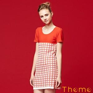 撞色格子針織短袖洋裝