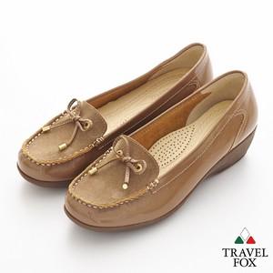 漆皮麂面蝴蝶結厚底楔型鞋