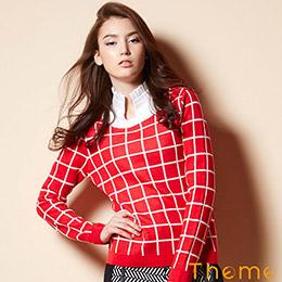 Theme條紋撞色針織毛衣