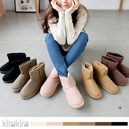 毛絨防潑水皮革短雪靴