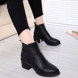歐美皮質微尖頭踝靴