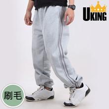 【U-KING】純棉加厚接條內刷休閒長褲