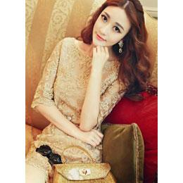 明星款金色絲線繡花蕾絲洋裝