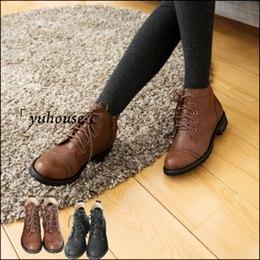 綁帶側拉鍊皮革粗跟短靴