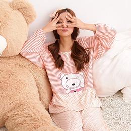 俏皮眨眼熊薄夾棉褲裝保暖睡衣