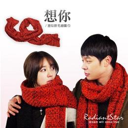 韓劇同款溫暖感麻花粗針織圍巾