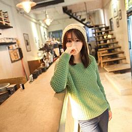 5折↘多彩素色寬領粗鉤織毛衣