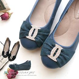 5折↘全真皮優雅法國寶石扣娃娃鞋