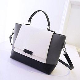 韓劇款黑白撞色仿公事包手提包