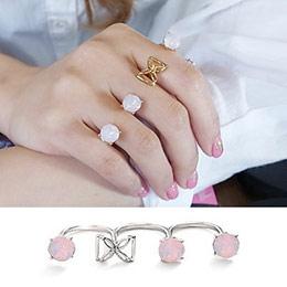 正韓唯美粉紅水晶時尚戒環