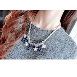 正韓華麗宮廷風藍水晶滿鑽項鍊