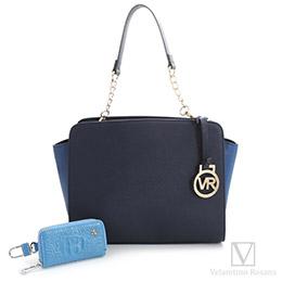 時尚俐落拼接手提/斜側背三用鏈條包-典雅藍