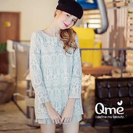 圖騰蕾絲複合棉織面料短洋裝
