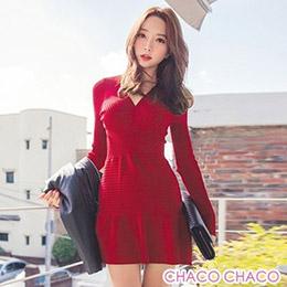 時尚V領修身魚尾裙擺彈性針織洋裝