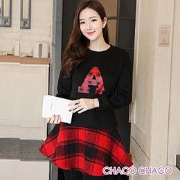 韓製大A字母格紋裙擺毛絨長袖洋裝