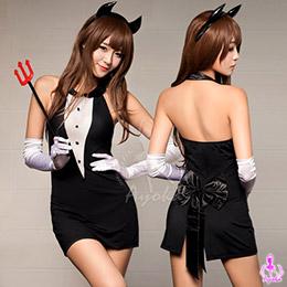 黑色貼身三件式惡魔角色扮演服