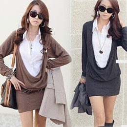 假兩件襯衫式垂領棉包臀洋裝