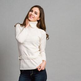 修身高領毛衣針織衫