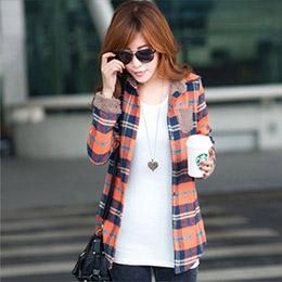 保暖加絨格紋襯衫(2色)