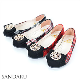 優雅魅力毛料格紋平底鞋