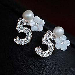 正韓奢華滿鑽第5大道珍珠耳環