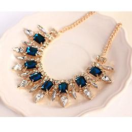 豪華藍寶石水晶滿鑽時尚項鍊