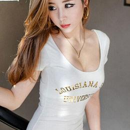 字母印花U領緊身短袖T恤
